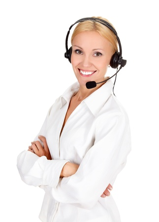 personal service: Cheerful call center operator against white background.  Stock Photo