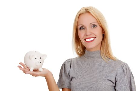 woman with piggy bank, isolated on white photo
