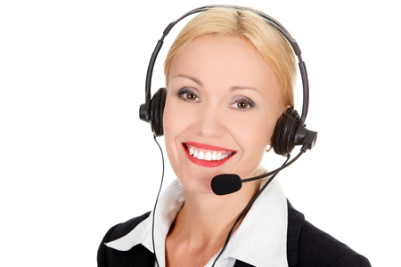 Cheerful call center operator against white background Stock Photo - 15693815