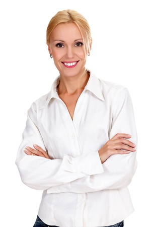 mid life: confident young business lady posing against white background