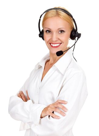 Cheerful call center operator against white background Stock Photo - 15762705
