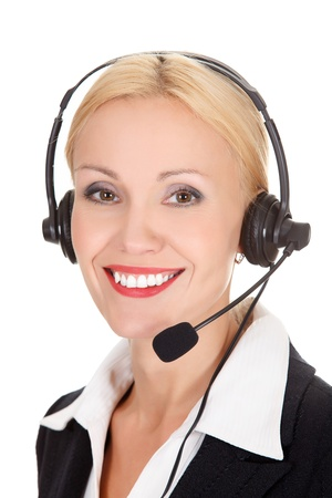 Cheerful call center operator against white background Stock Photo - 15808115