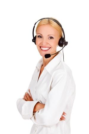 telemarketing: Cheerful call center operator against white background