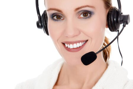 Cheerful call center operator against white background Stock Photo - 16245207