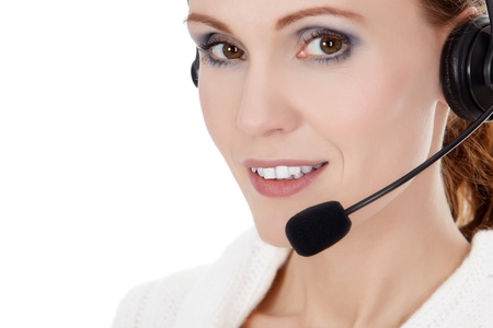 Cheerful call center operator against white background Stock Photo - 16245204