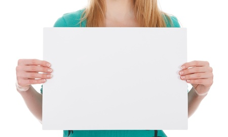 woman with blank white board on white background photo