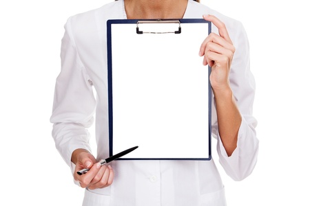 medical female doctor holding blank billboard isolated on white  photo