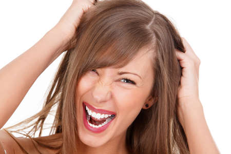 Screaming woman, white background photo
