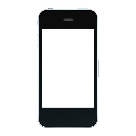 mobile sms: Black smartphone with large screen isolated on white background