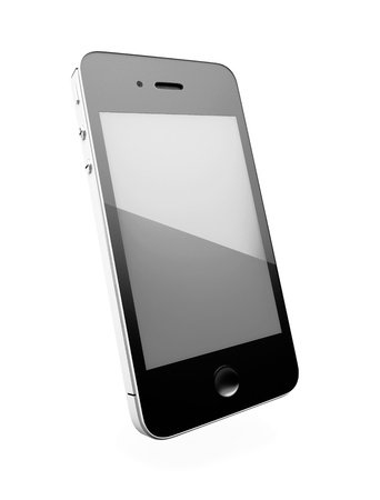Black smartphone with large screen isolated on white background