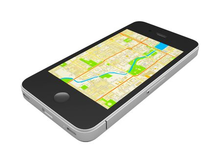 Black smartphone with an abstract GPS map on screen, isolated on white background