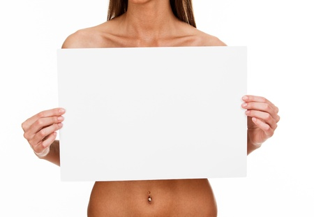 woman naked body: young woman holding white banner with a place for your info