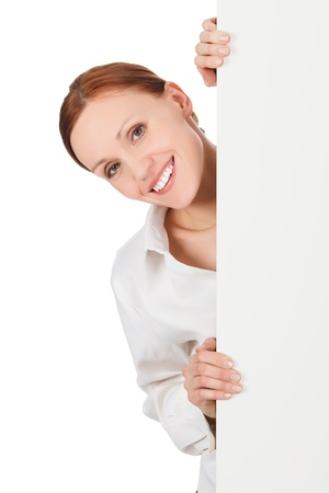 holding the head: Pretty woman with a blank presentation board, white background Stock Photo