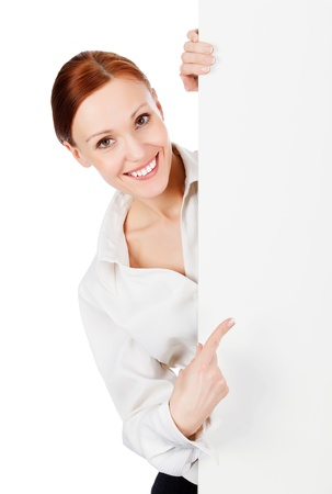 woman from behind: Happy smiling young business woman with a blank signboard, isolated on white background