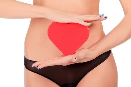 body heart: Woman with a red heart