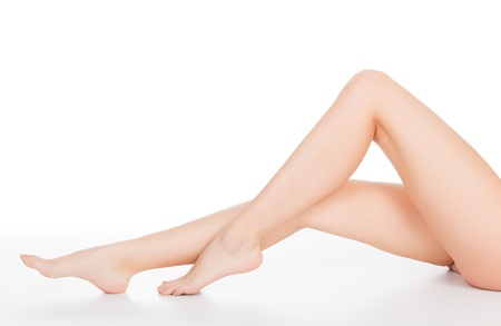 bare body women: Female legs, white background