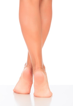 anklebone: pretty woman legs on white background Stock Photo