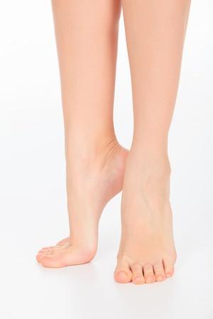 pretty woman legs on white background