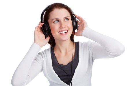 Teenage girl with headphones, white background Stock Photo - 18762422