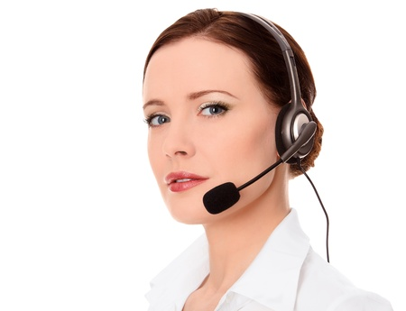 beauty center: Support phone operator in headset, isolated on white, copyspace