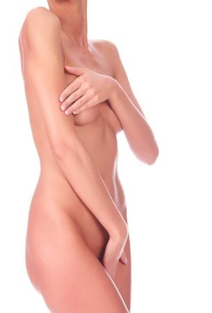 Beautiful female body isolated on clear white background photo