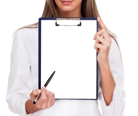 notice board: Doctor woman with empty document, copyspace