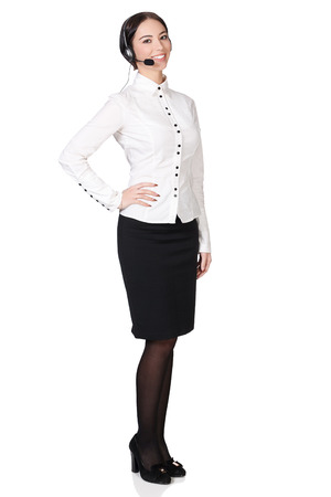 Full length portrait of call center consultant, white background, copyspace