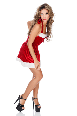 Girl in red dress. photo
