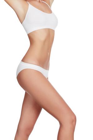 Slim woman in white underwear, copyspace