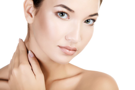 woman neck: Beautiful girl with clean fresh skin, white background, copyspace Stock Photo