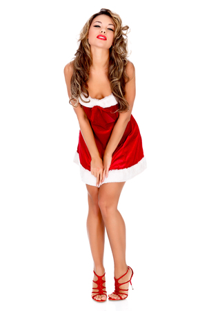 Girl in red dress, white background, copyspace photo