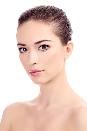 Beautiful girl with clean fresh skin, white background  免版税图像