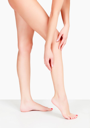 the well groomed: Female legs and hands, white background