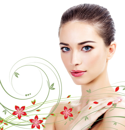 Beautiful girl with clean fresh skin, white background  Imagens