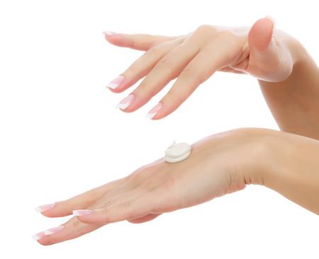 Mains de femme sur fond blanc Banque d'images