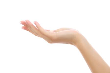 h�ndchen halten: Weibliche Hand auf wei�em Hintergrund