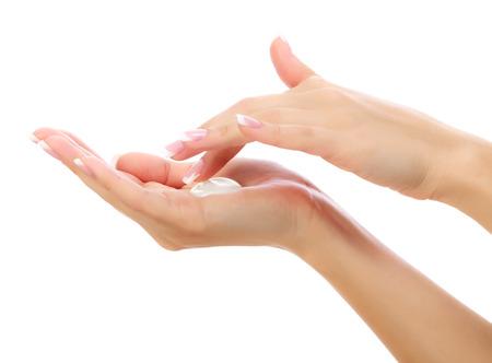 Female hands on white  免版税图像