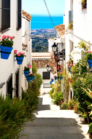 Beautiful street with flowers in the Mijas town, Spain  photo
