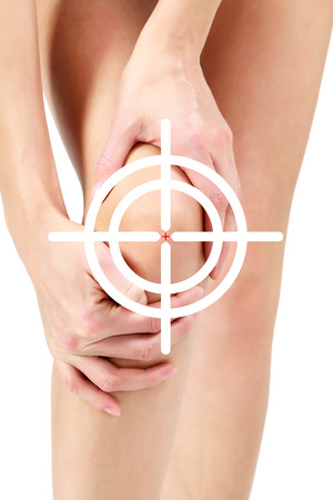 Pain in leg, white background, isolated photo