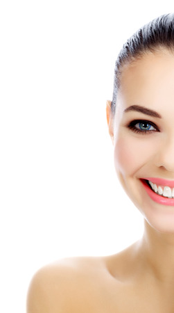 womans: Cheerful female with fresh clear skin, white background