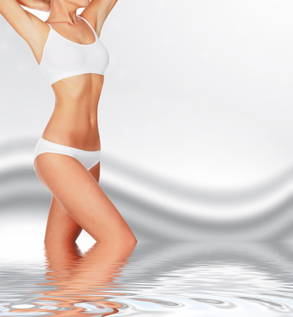 womans: Slim woman against abstract background
