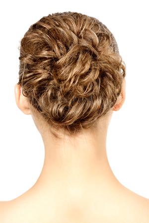 woman with braid hairdo, isolated on white background  photo