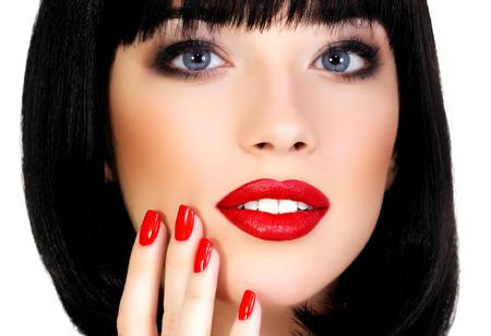 Pretty girl, white background, copyspace photo