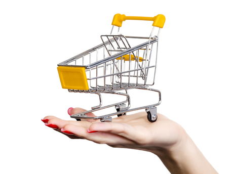 Shopping cart on a female hand, white background, copyspace photo