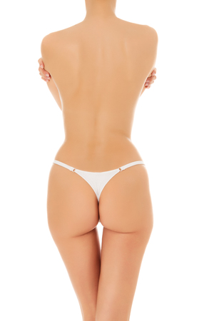 Female body, white background, copyspace  photo