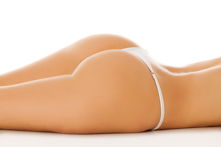Female ass, white background