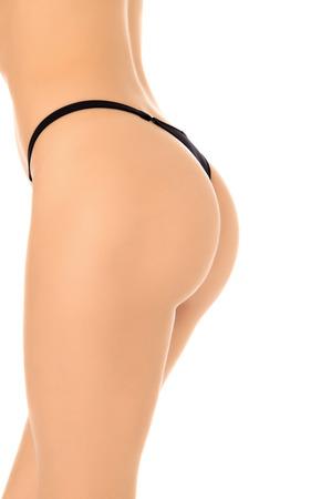 nude female buttocks: Female body, white background, copyspace