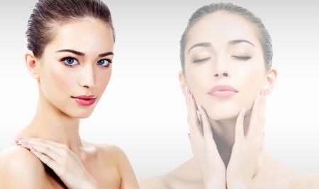 clear skin: Beautiful woman with clean, fresh skin Stock Photo