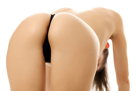Female ass, white background, copyspace