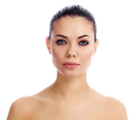 Mooie vrouw op witte achtergrond Stockfoto